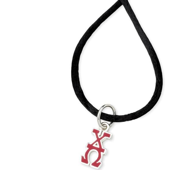 Chi Omega Satin Necklace with Greek Letter Charm - Image 2