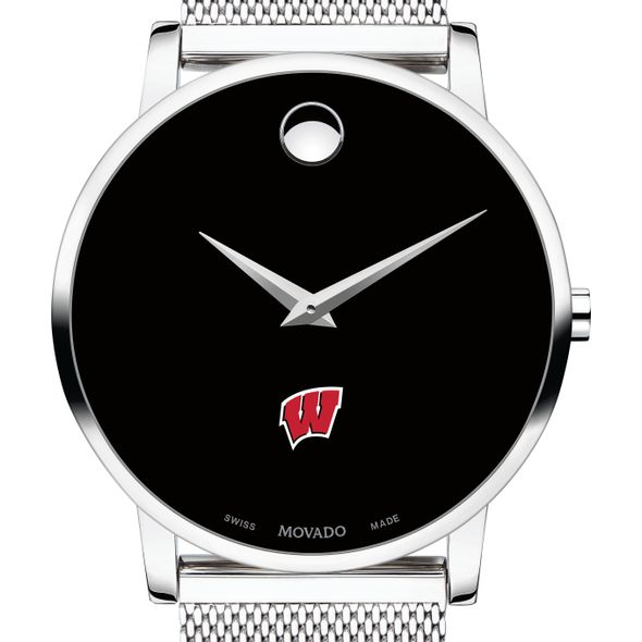 University of Wisconsin Men's Movado Museum with Mesh Bracelet - Image 1