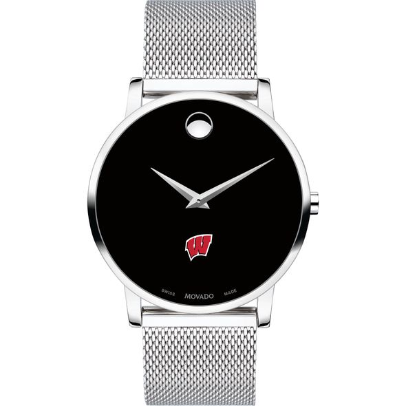 University of Wisconsin Men's Movado Museum with Mesh Bracelet - Image 2