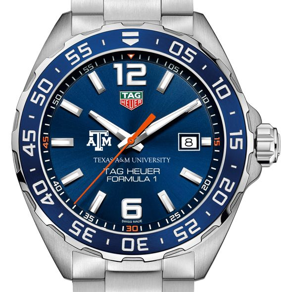 Texas A&M University Men's TAG Heuer Formula 1 with Blue Dial & Bezel