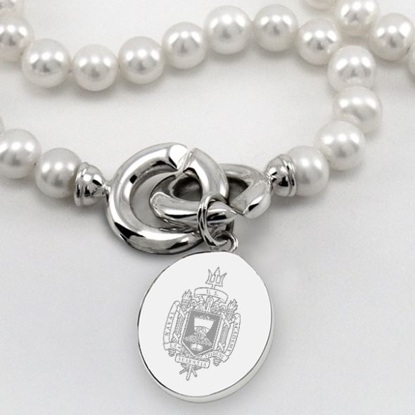 Naval Academy Pearl Necklace with USNA Sterling Silver Charm - Image 2