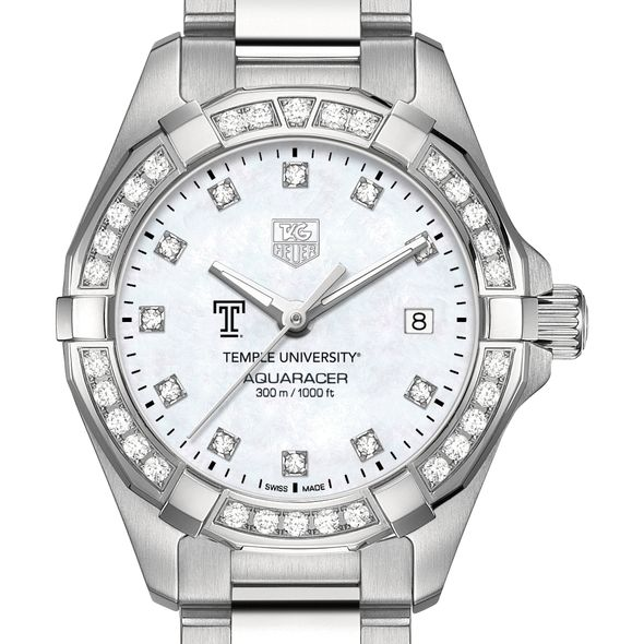 Temple University Women's TAG Heuer Steel Aquaracer with MOP Diamond Dial & Bezel - Image 1