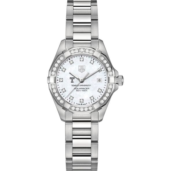 Temple University Women's TAG Heuer Steel Aquaracer with MOP Diamond Dial & Bezel - Image 2