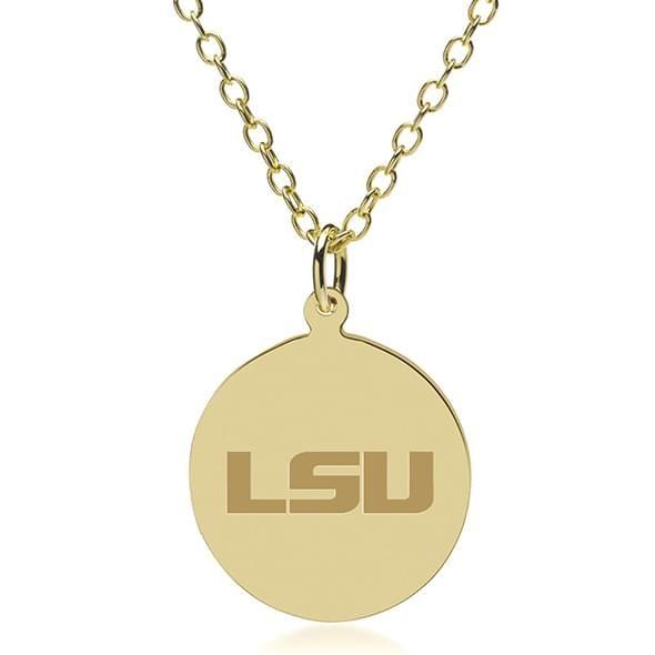 LSU 18K Gold Pendant & Chain - Image 1