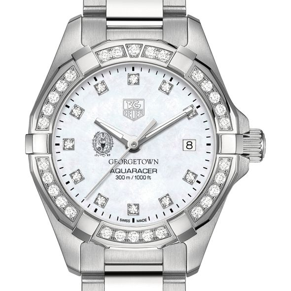 Georgetown Women's TAG Heuer Steel Aquaracer with MOP Diamond Dial & Diamond Bezel