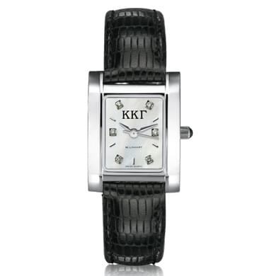 KKG Women's Mother of Pearl Quad Watch with Diamonds & Leather Strap