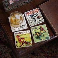 Harvard Vintage Football Marble Coasters