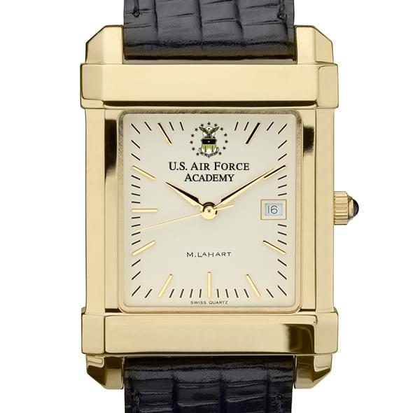 USAFA Men's Gold Quad Watch with Leather Strap