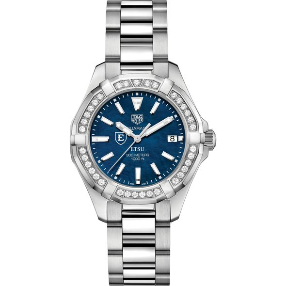 East Tennessee State Women's TAG Heuer 35mm Steel Aquaracer with Blue Dial - Image 2