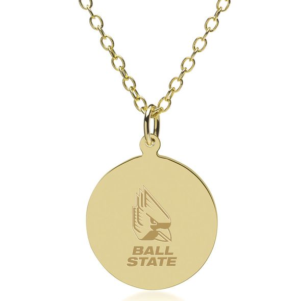 Ball State 18K Gold Pendant & Chain - Image 1