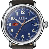 Oklahoma State Shinola Watch, The Runwell Automatic 45mm Royal Blue Dial