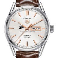 Purdue University Men's TAG Heuer Day/Date Carrera with Silver Dial & Strap