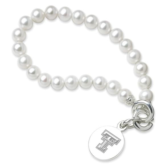 Texas Tech Pearl Bracelet with Sterling Silver Charm