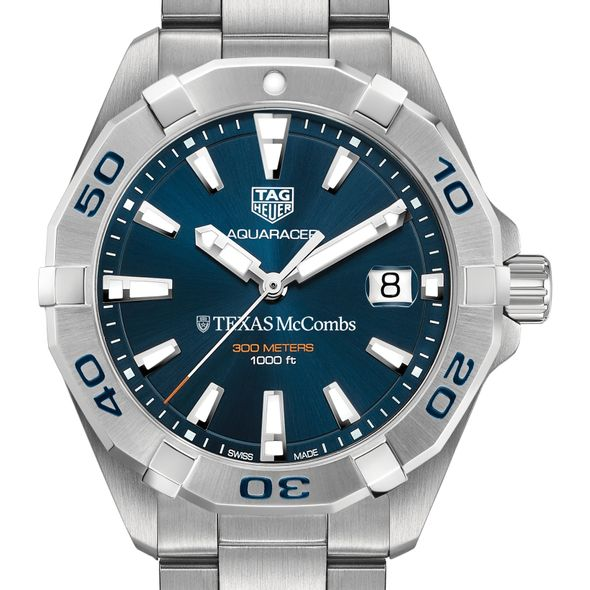 Texas McCombs Men's TAG Heuer Steel Aquaracer with Blue Dial