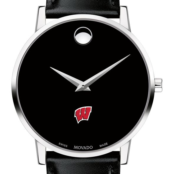 University of Wisconsin Men's Movado Museum with Leather Strap