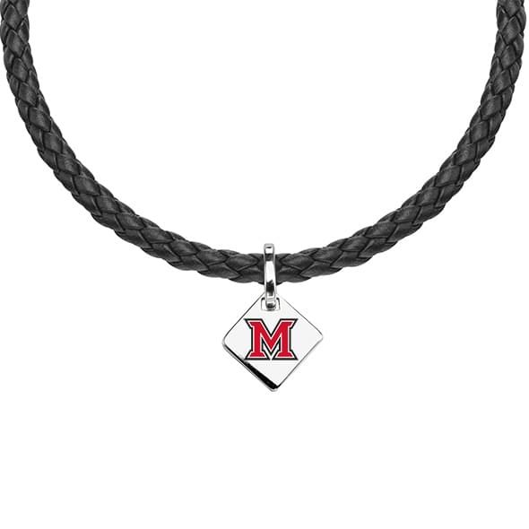 Miami University Leather Necklace with Sterling Silver Tag