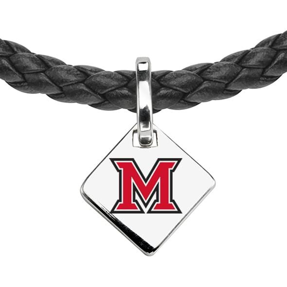 Miami University Leather Necklace with Sterling Silver Tag - Image 2