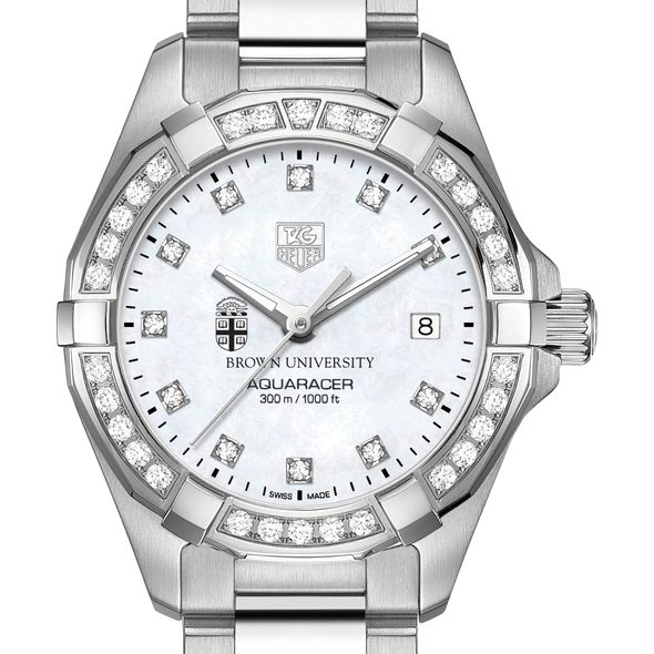 Brown Women's TAG Heuer Steel Aquaracer with MOP Diamond Dial & Diamond Bezel - Image 1