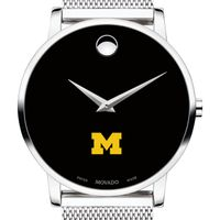 University of Michigan Men's Movado Museum with Mesh Bracelet