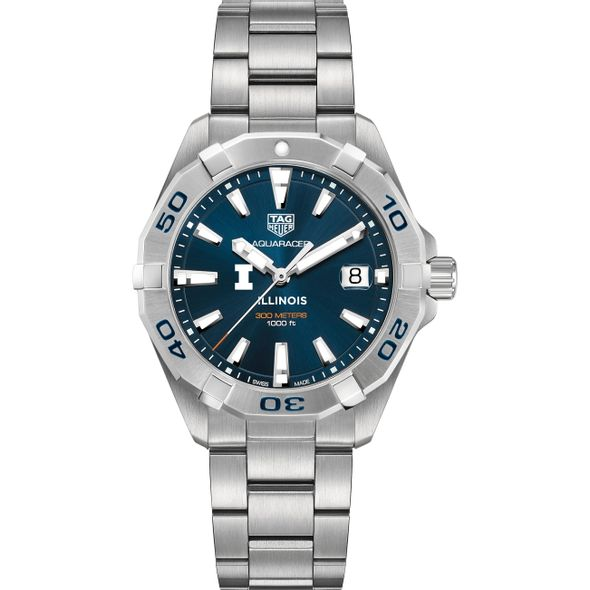 University of Illinois Men's TAG Heuer Steel Aquaracer with Blue Dial - Image 2