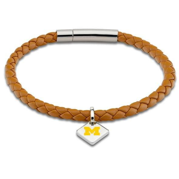 Michigan Leather Bracelet with Sterling Silver Tag - Saddle