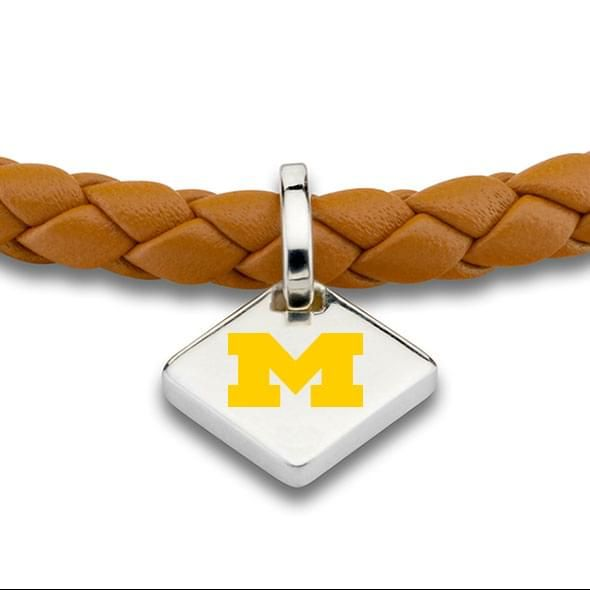 Michigan Leather Bracelet with Sterling Silver Tag - Saddle - Image 2