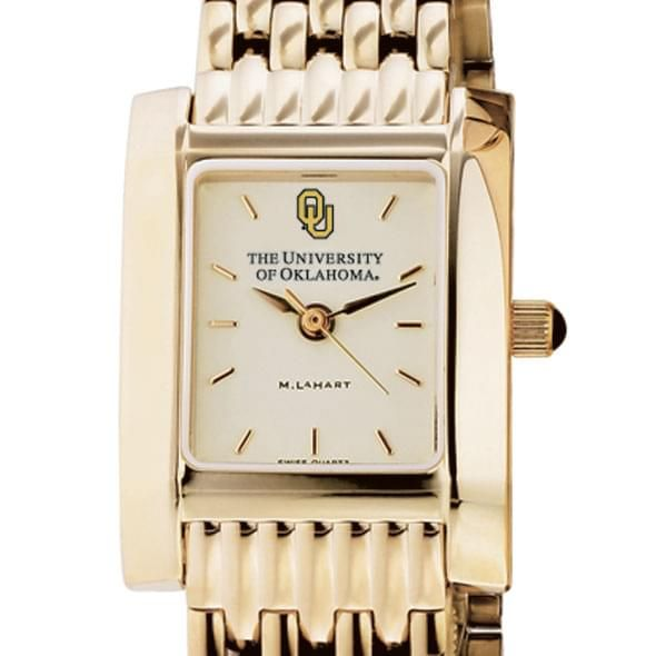 Oklahoma Women's Gold Quad Watch with Bracelet - Image 1