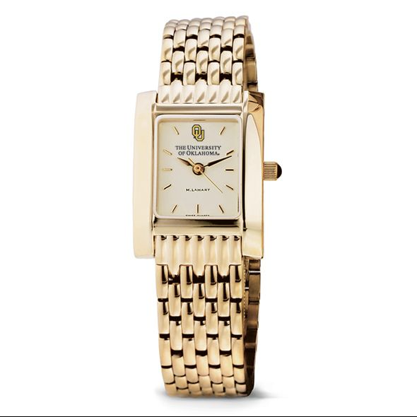 Oklahoma Women's Gold Quad Watch with Bracelet - Image 2