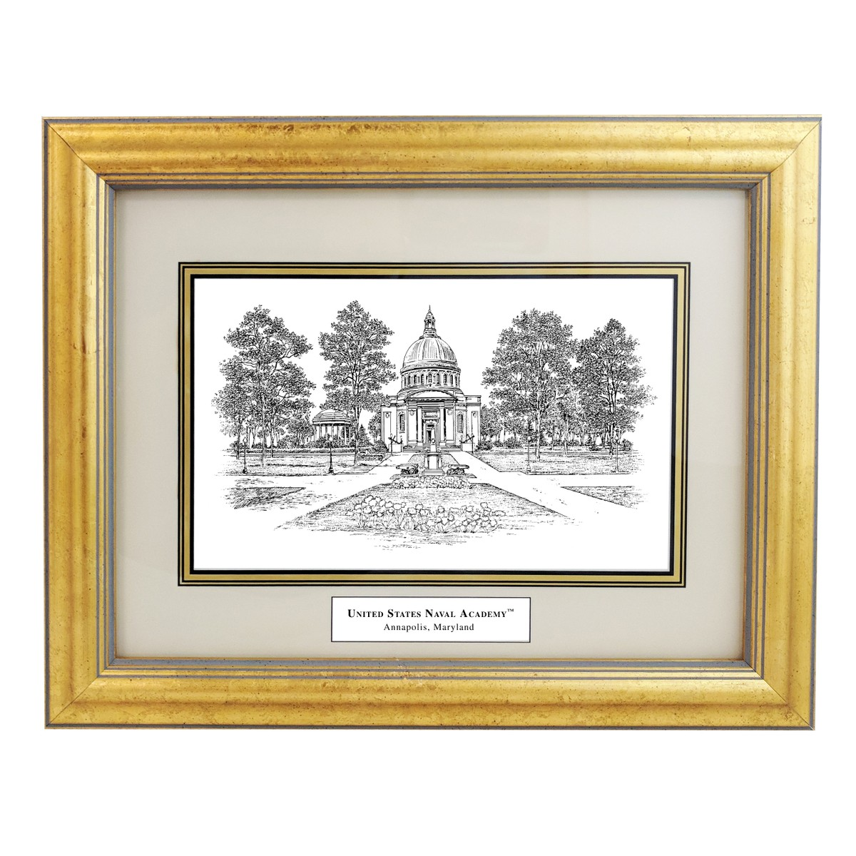 Framed Pen And Ink Us Naval Academy Print At M Lahart