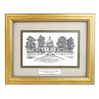 Framed Pen and Ink US Naval Academy Print