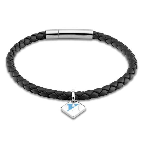 JHU Leather Bracelet with Sterling Silver Tag - Black
