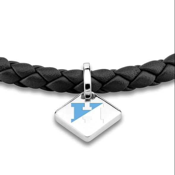 JHU Leather Bracelet with Sterling Silver Tag - Black - Image 2