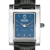 Wisconsin Women's Blue Quad Watch with Leather Strap