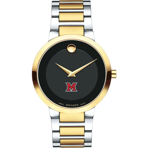 Miami University Men's Movado Two-Tone Modern Classic Museum with Bracelet - Image 2