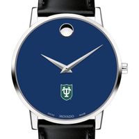 Tulane University Men's Movado Museum with Blue Dial & Leather Strap