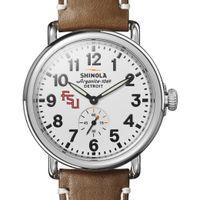 FSU Shinola Watch, The Runwell 41mm White Dial