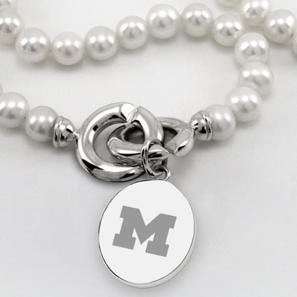 Michigan Pearl Necklace with Sterling Silver Charm - Image 2