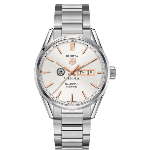 US Merchant Marine Academy Men's TAG Heuer Day/Date Carrera with Silver Dial & Bracelet - Image 2