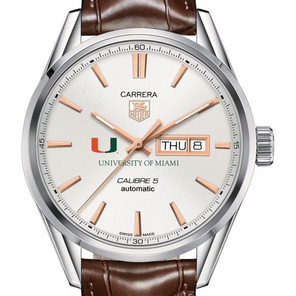University of Miami Men's TAG Heuer Day/Date Carrera with Silver Dial & Strap