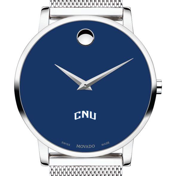 Christopher Newport University Men's Movado Museum with Blue Dial & Mesh Bracelet