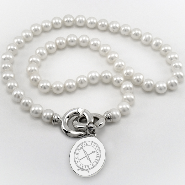 USNI Pearl Necklace with Sterling Silver Charm