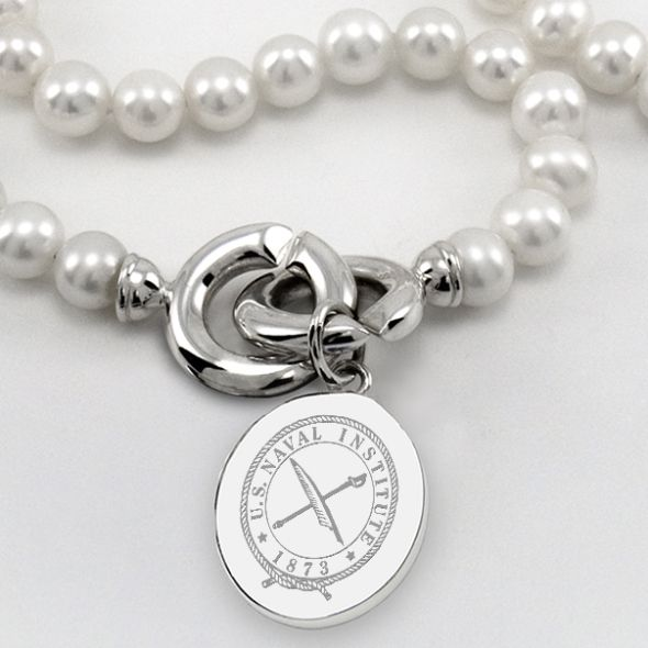 USNI Pearl Necklace with Sterling Silver Charm - Image 2