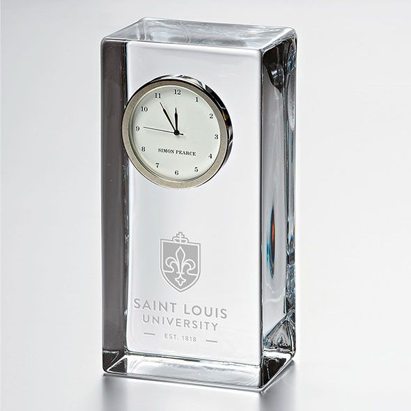 Saint Louis University Tall Glass Desk Clock by Simon Pearce - Image 1