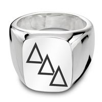 Delta Delta Delta Sterling Silver Rectangular Cushion Ring