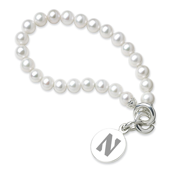 Northwestern Pearl Bracelet with Sterling Silver Charm