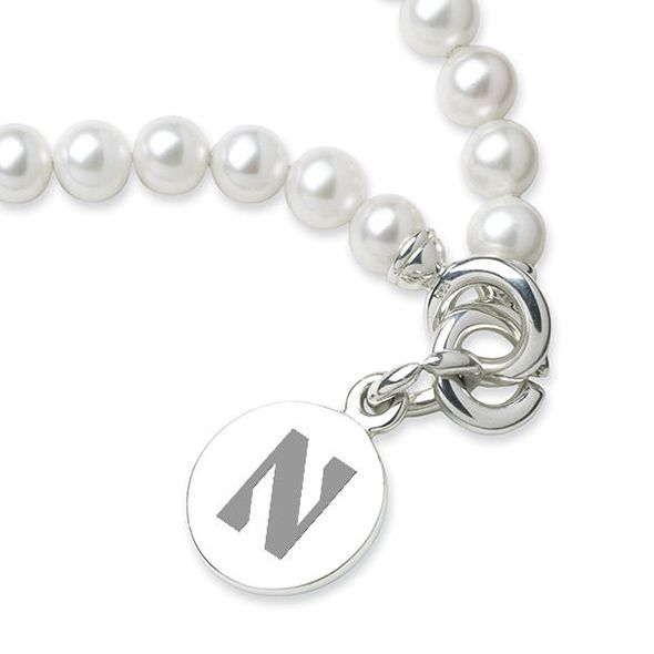 Northwestern Pearl Bracelet with Sterling Silver Charm - Image 2