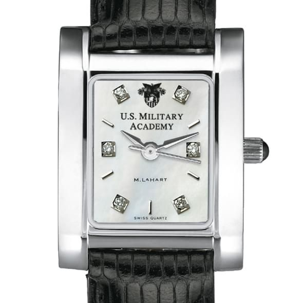 West Point Women's Mother of Pearl Quad Watch with Diamonds & Leather Strap - Image 1