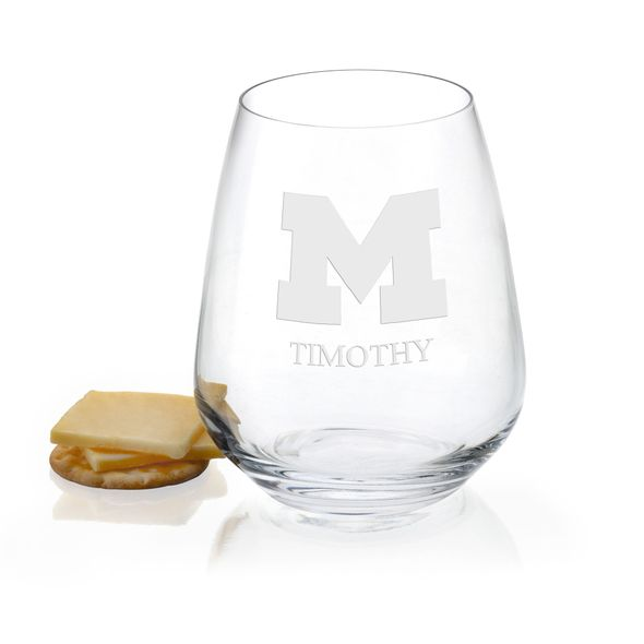 University of Michigan Stemless Wine Glasses - Set of 2 - Image 1