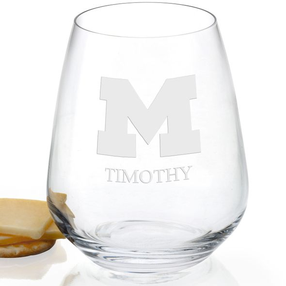 University of Michigan Stemless Wine Glasses - Set of 2 - Image 2