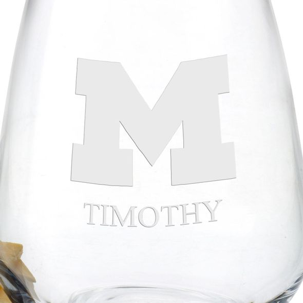 University of Michigan Stemless Wine Glasses - Set of 2 - Image 3